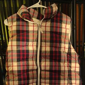 LANDS'END PLAID DOWN VEST Size 1x